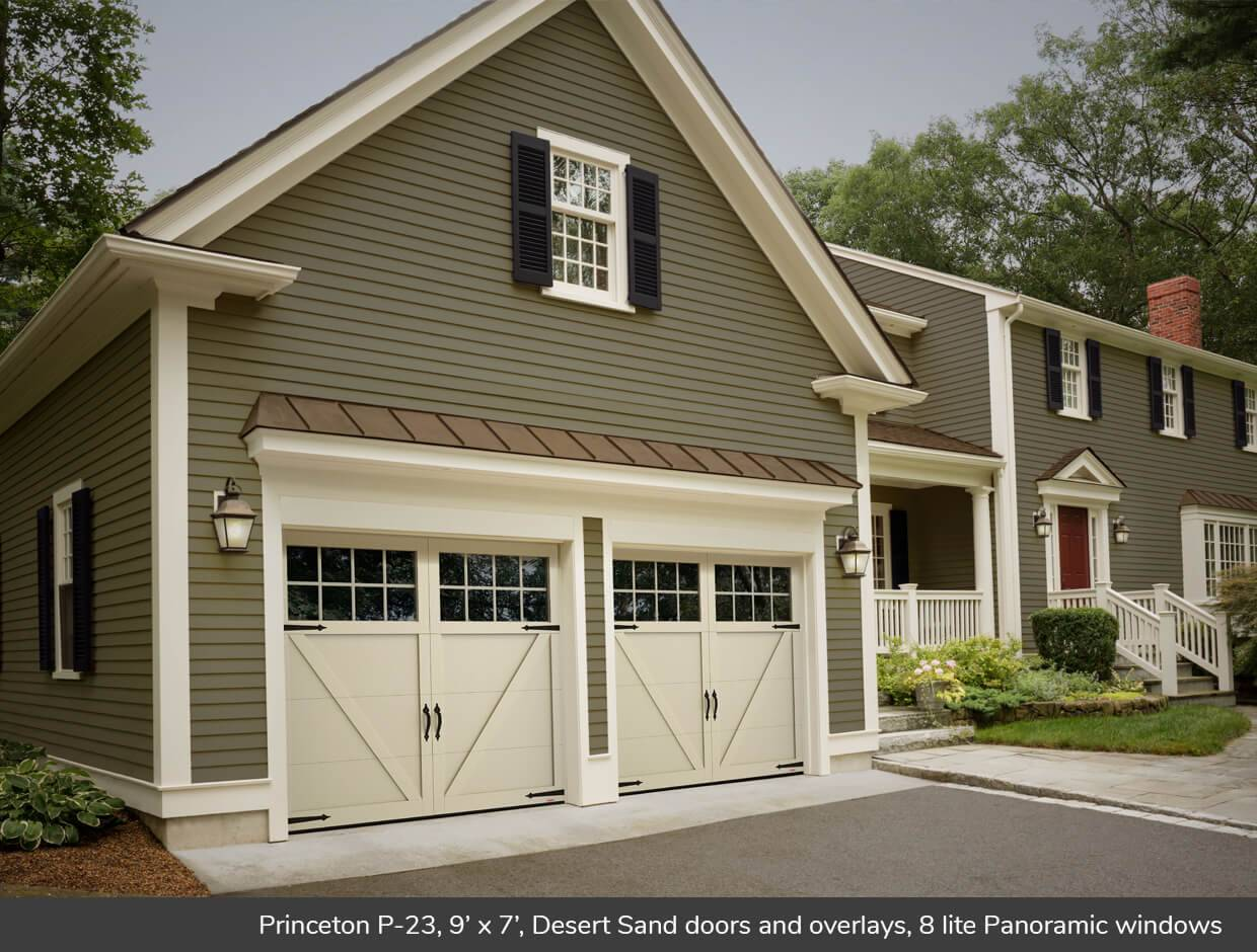 Princeton P-23, 9' x 7', Desert Sand doors and overlays, 8 lite Panoramic windows