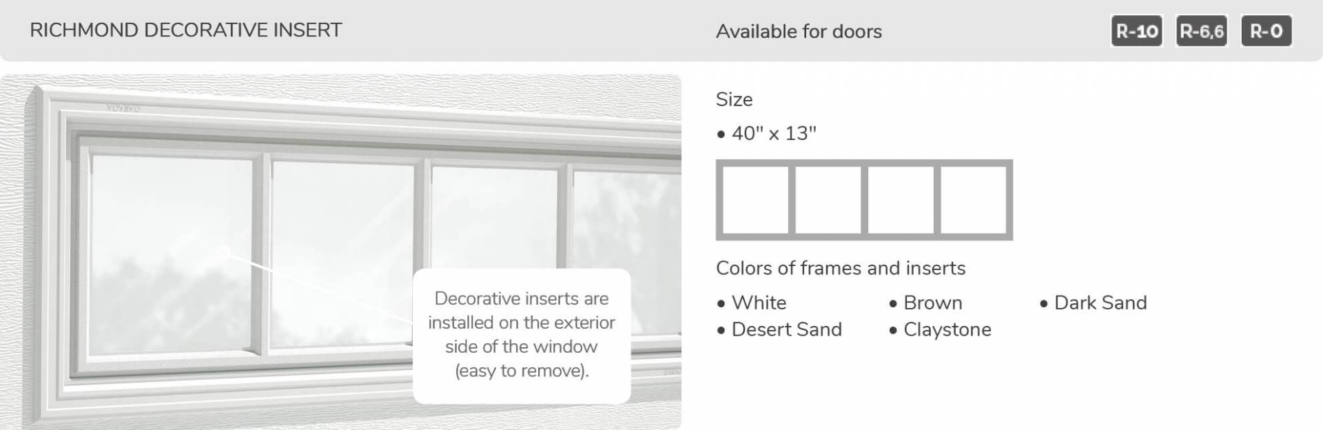 "Richmond Decorative Insert, 40"" x 13"", available for doors R-10, R-6.6, R-0"