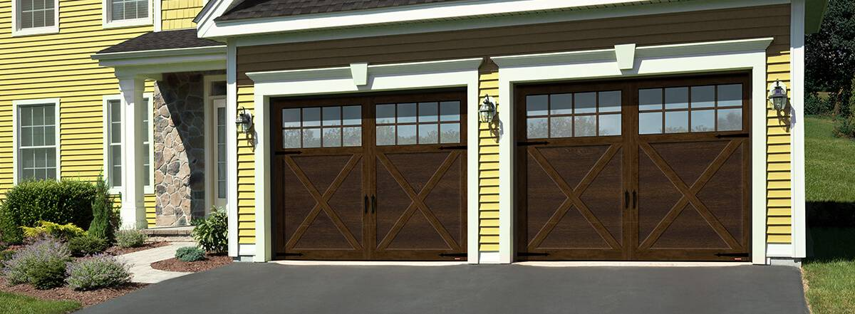 Princeton P-21, 18' x 7', Chocolate Walnut door and Ice White overlays, 4 vertical lite Panoramic windows