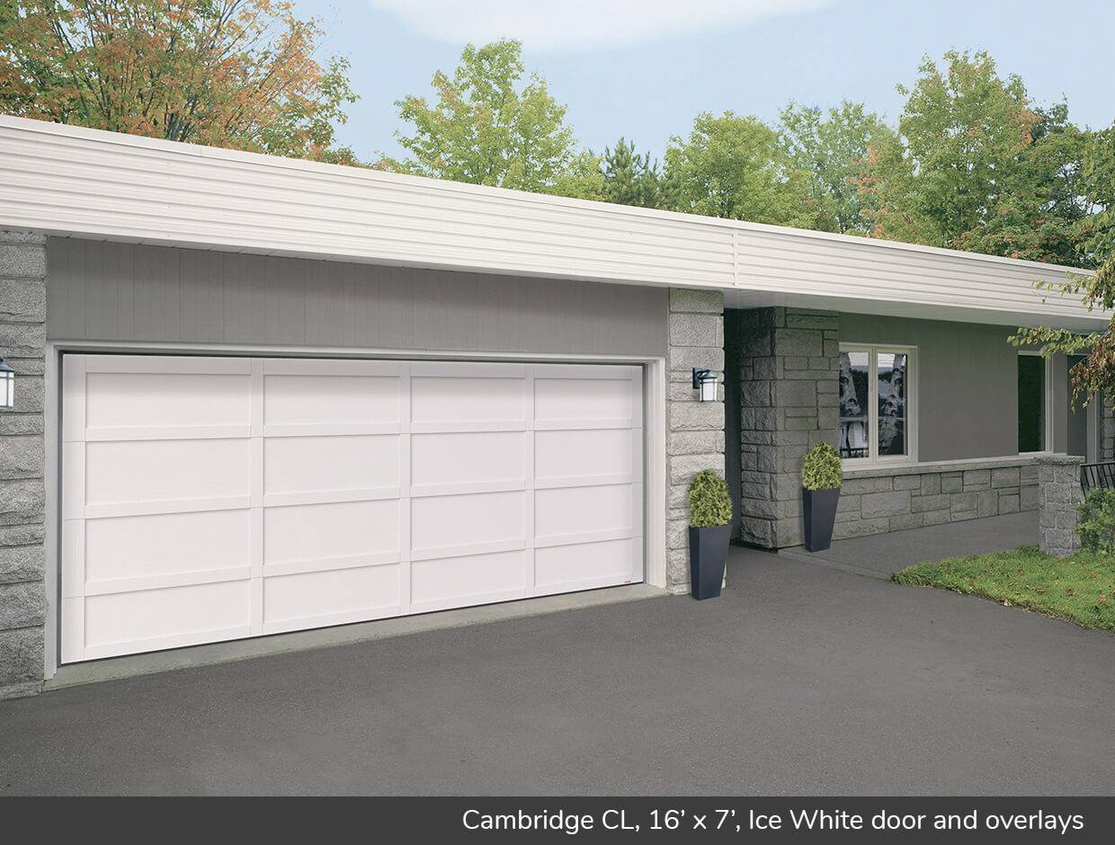 Cambridge CL, 16' x 7', Ice White door and overlays